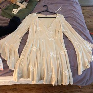 Free People Cream bell sleeve dress